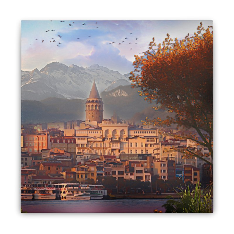Village on the mountainside Home Stretched Canvas by Jasmina Seidl's Artist Shop