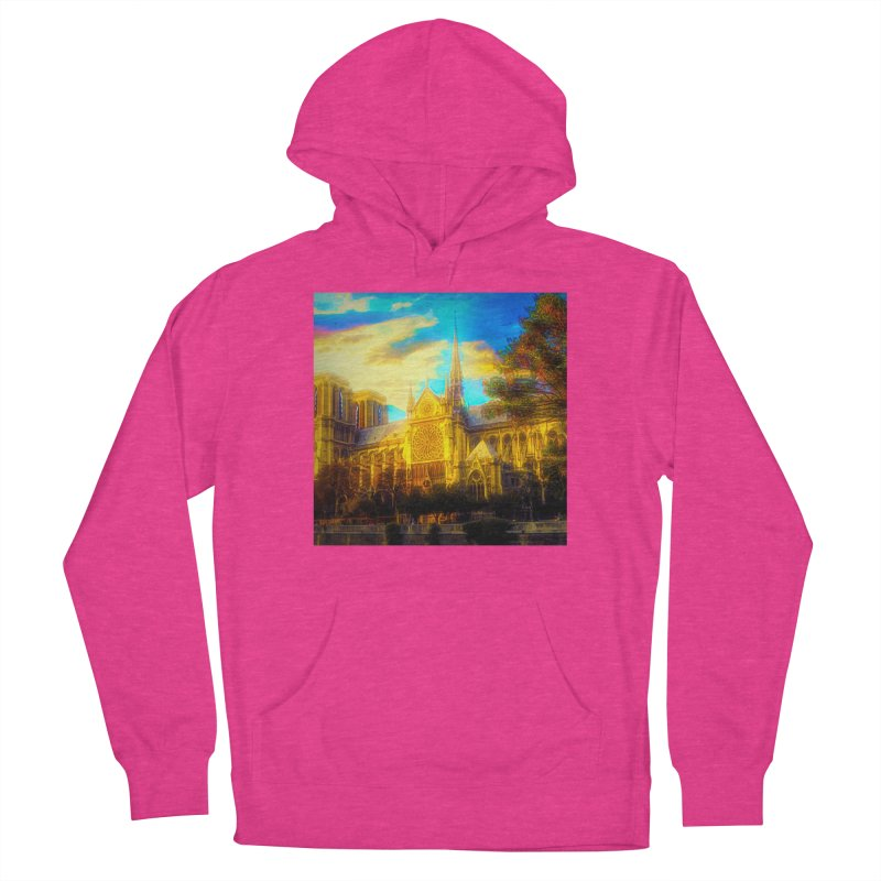 Notre Dame Paris Men's French Terry Pullover Hoody by Jasmina Seidl's Artist Shop