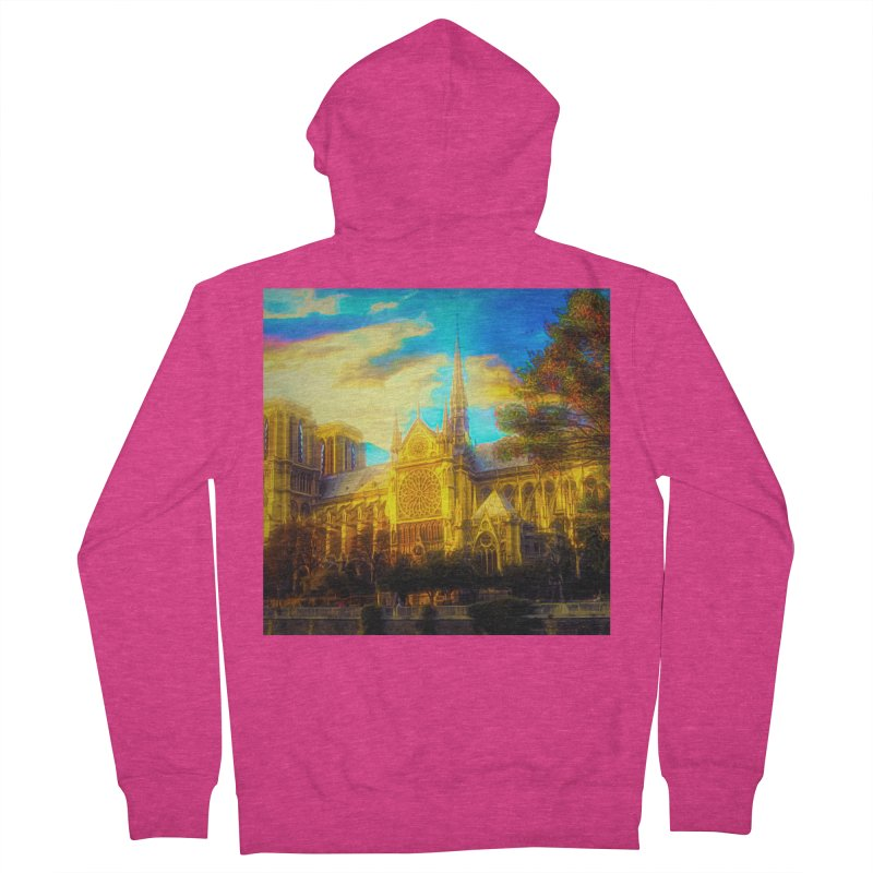 Notre Dame Paris Women's French Terry Zip-Up Hoody by Jasmina Seidl's Artist Shop