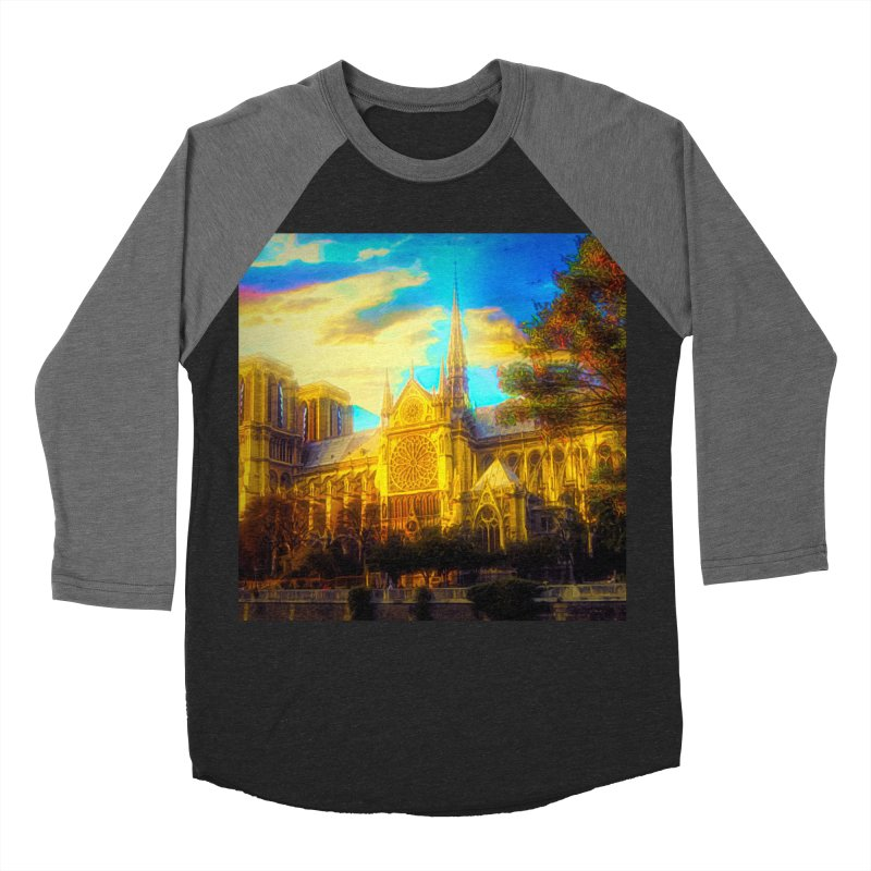 Notre Dame Paris Men's Baseball Triblend Longsleeve T-Shirt by Jasmina Seidl's Artist Shop