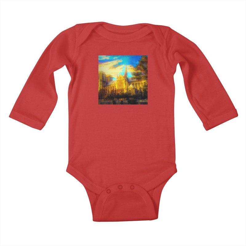 Notre Dame Paris Kids Baby Longsleeve Bodysuit by Jasmina Seidl's Artist Shop