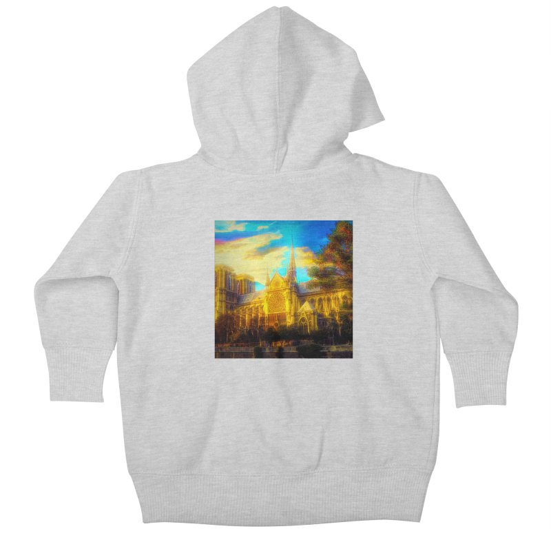 Notre Dame Paris Kids Baby Zip-Up Hoody by Jasmina Seidl's Artist Shop