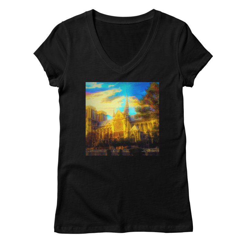 Notre Dame Paris Women's Regular V-Neck by Jasmina Seidl's Artist Shop