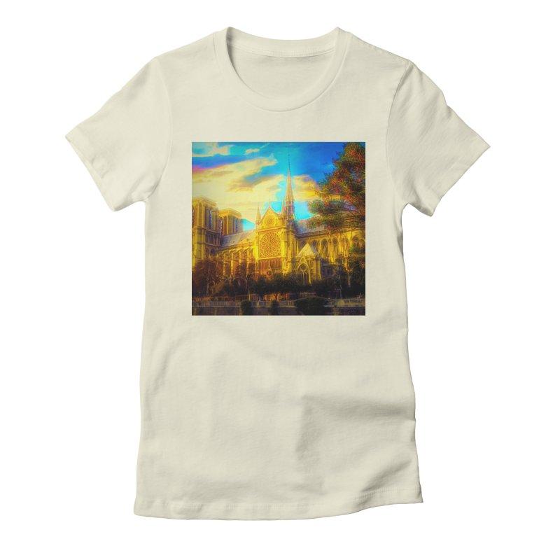 Notre Dame Paris Women's Fitted T-Shirt by Jasmina Seidl's Artist Shop
