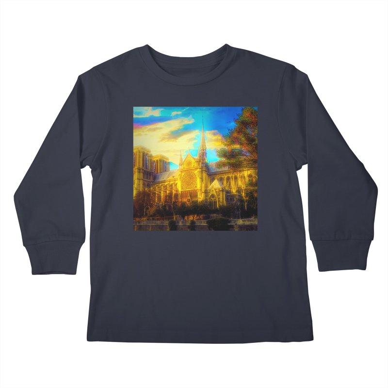 Notre Dame Paris Kids Longsleeve T-Shirt by Jasmina Seidl's Artist Shop
