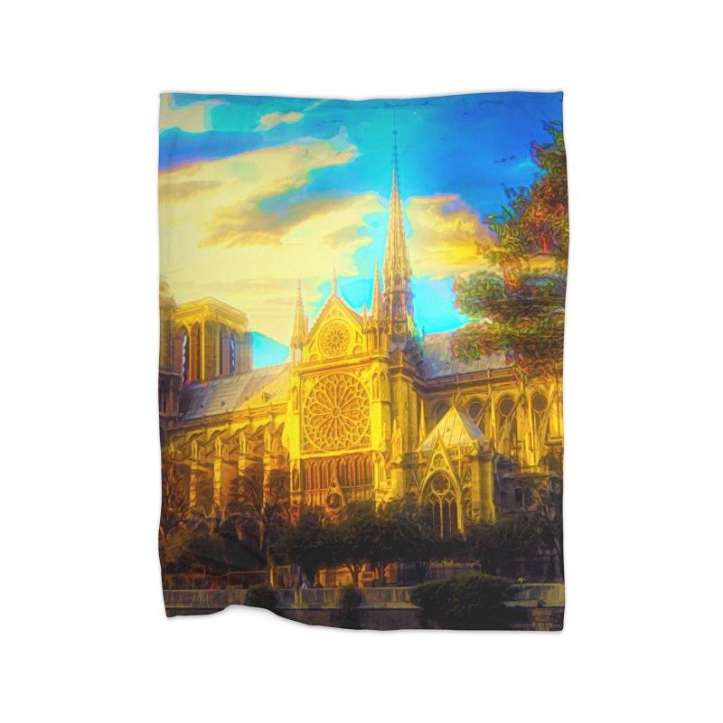 Notre Dame Paris Home Fleece Blanket Blanket by Jasmina Seidl's Artist Shop