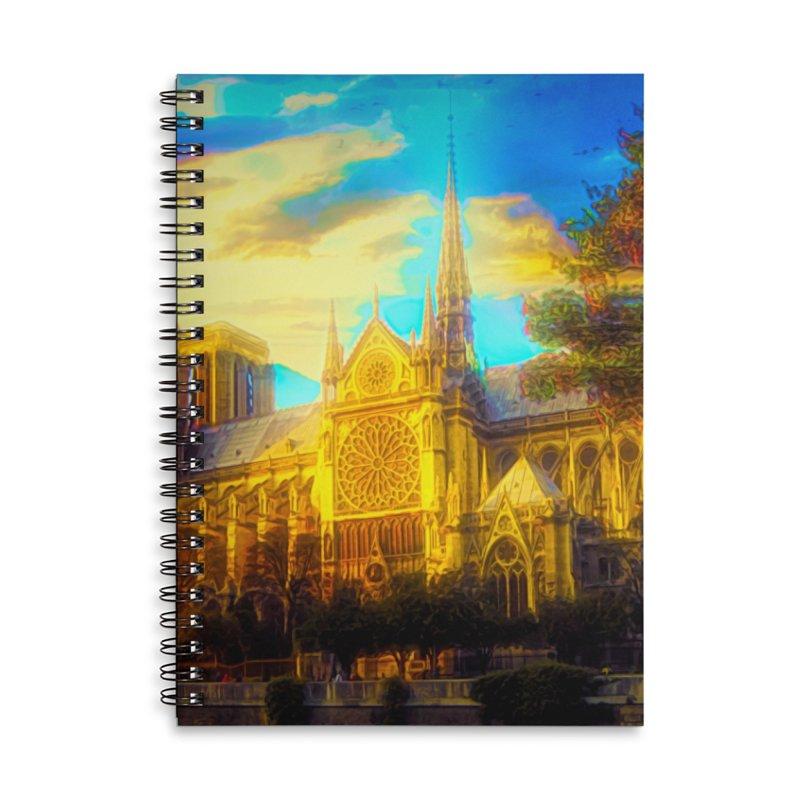 Notre Dame Paris Accessories Lined Spiral Notebook by Jasmina Seidl's Artist Shop