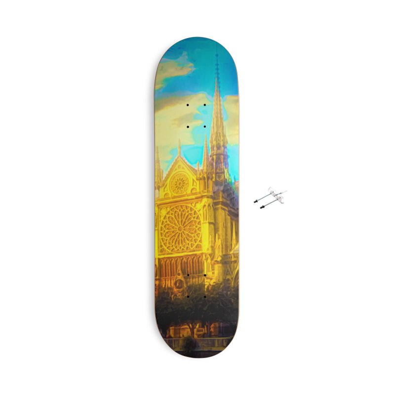 Notre Dame Paris Accessories With Hanging Hardware Skateboard by Jasmina Seidl's Artist Shop