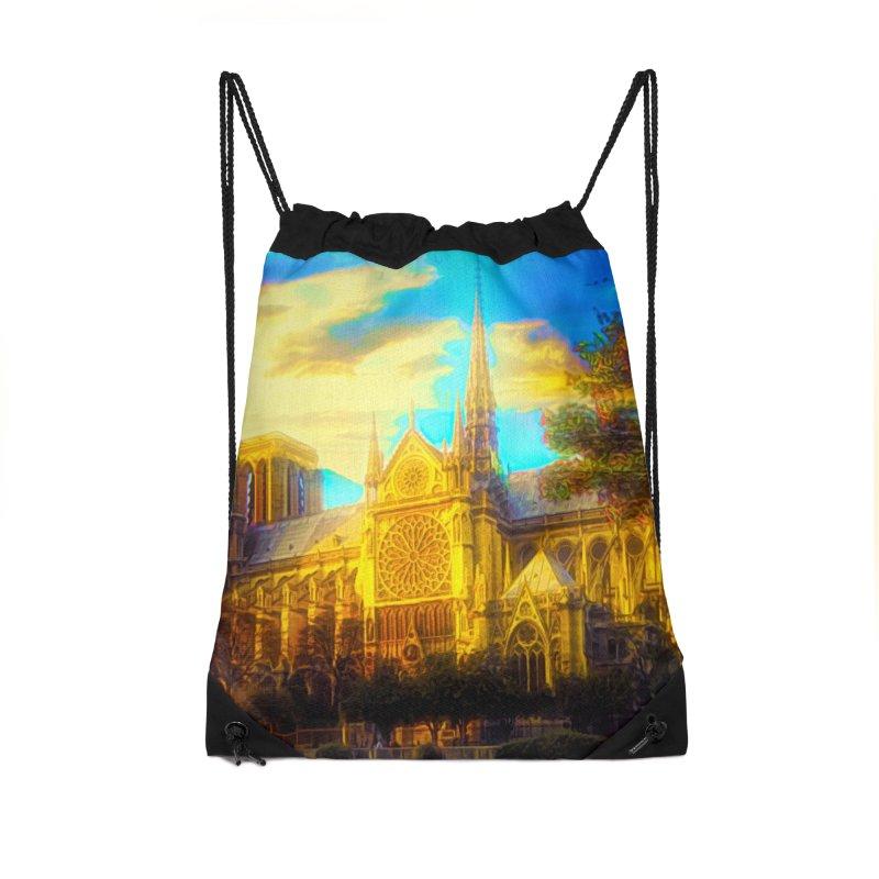 Notre Dame Paris Accessories Drawstring Bag Bag by Jasmina Seidl's Artist Shop