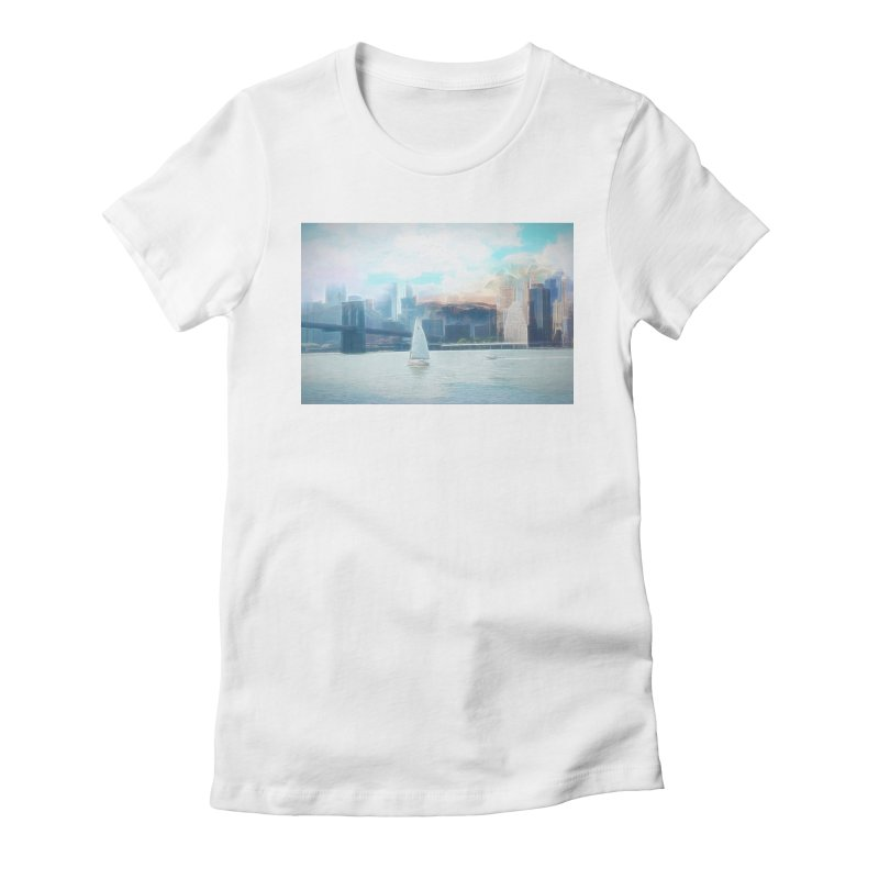 Skyline Women's Fitted T-Shirt by Jasmina Seidl's Artist Shop