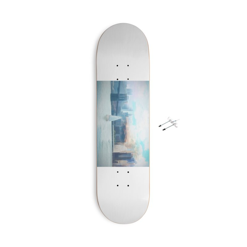 Skyline Accessories With Hanging Hardware Skateboard by Jasmina Seidl's Artist Shop
