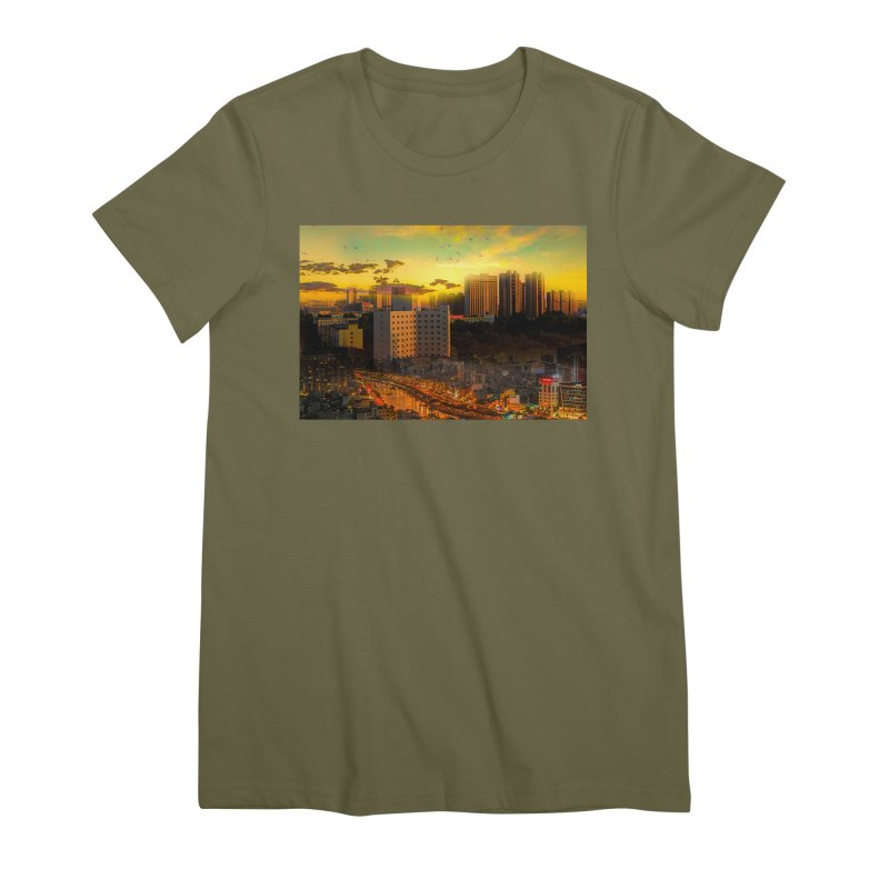 Golden Horizon Women's Premium T-Shirt by Jasmina Seidl's Artist Shop