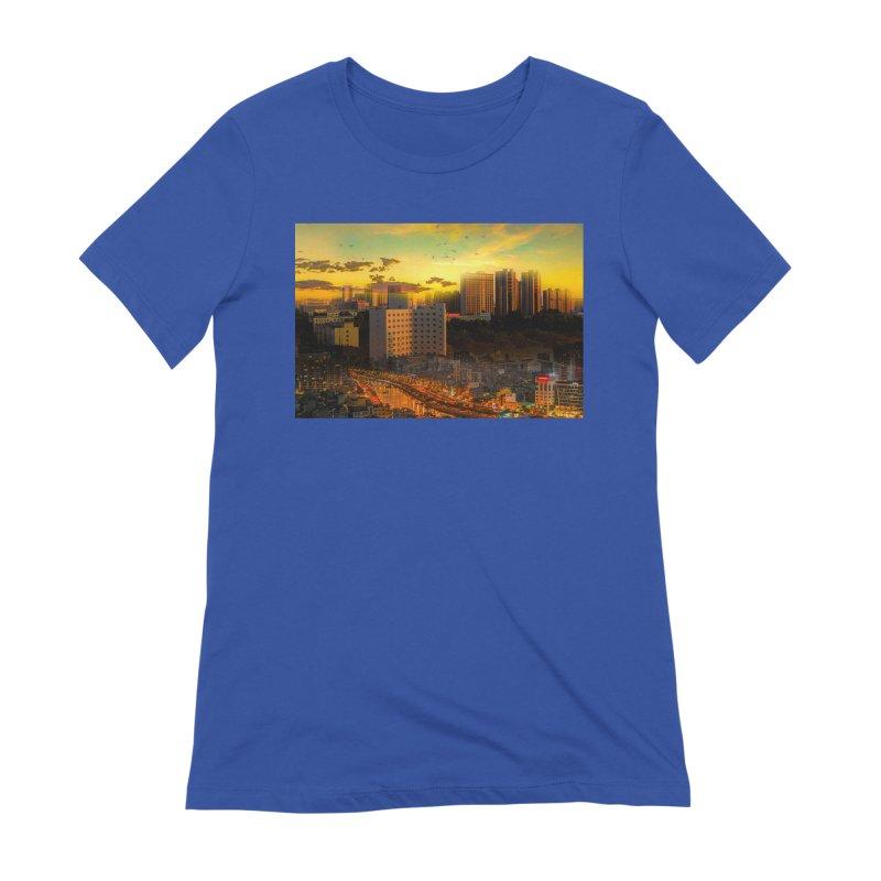 Golden Horizon Women's Extra Soft T-Shirt by Jasmina Seidl's Artist Shop