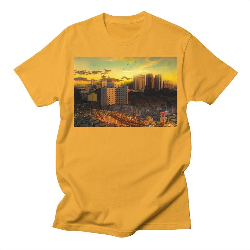 Golden Horizon Men's Regular T-Shirt by Jasmina Seidl's Artist Shop