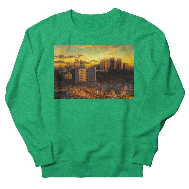 Golden Horizon Men's French Terry Sweatshirt by Jasmina Seidl's Artist Shop
