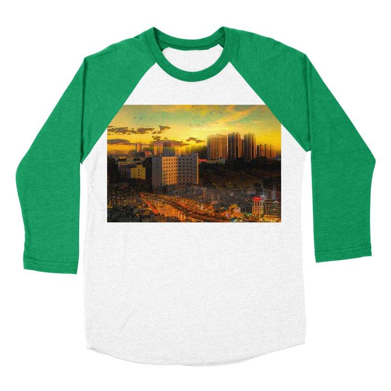Golden Horizon Women's Baseball Triblend Longsleeve T-Shirt by Jasmina Seidl's Artist Shop