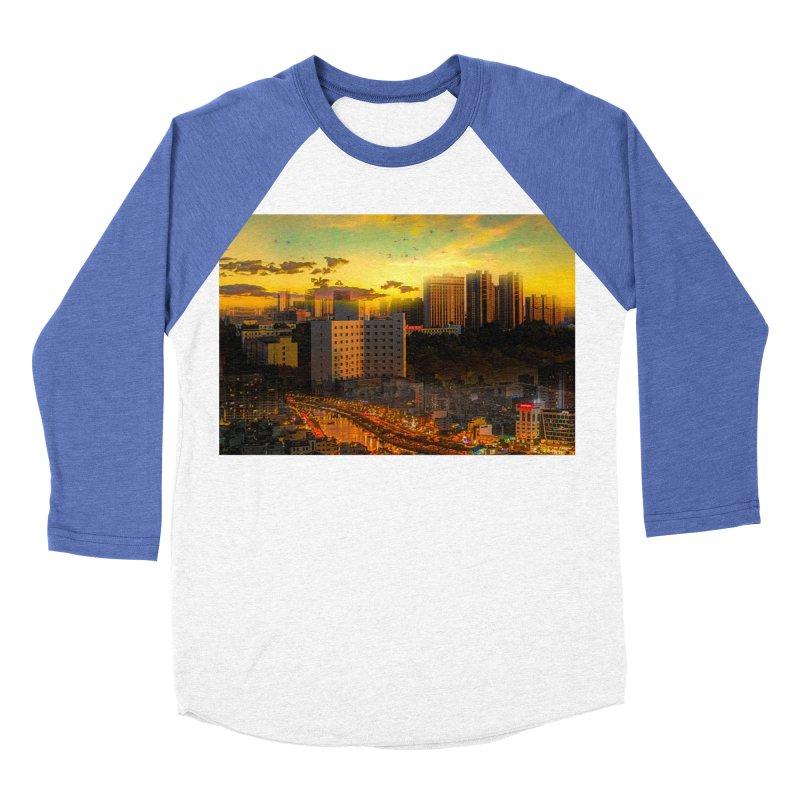 Golden Horizon Men's Baseball Triblend Longsleeve T-Shirt by Jasmina Seidl's Artist Shop