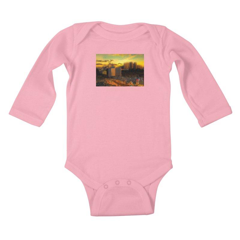 Golden Horizon Kids Baby Longsleeve Bodysuit by Jasmina Seidl's Artist Shop