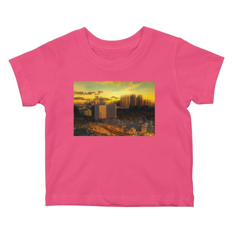 Golden Horizon Kids Baby T-Shirt by Jasmina Seidl's Artist Shop