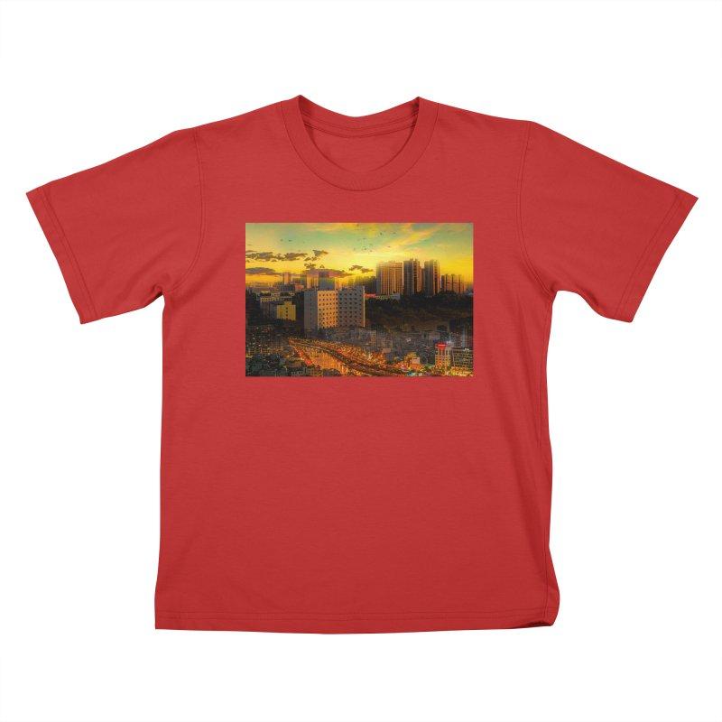 Golden Horizon Kids T-Shirt by Jasmina Seidl's Artist Shop