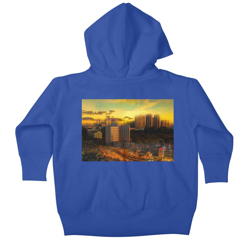 Golden Horizon Kids Baby Zip-Up Hoody by Jasmina Seidl's Artist Shop