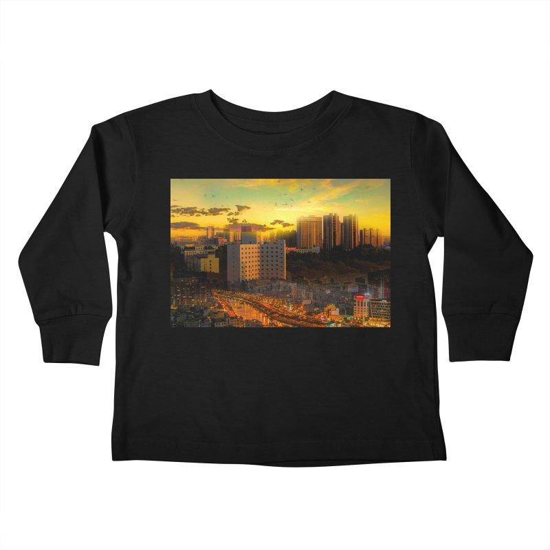 Golden Horizon Kids Toddler Longsleeve T-Shirt by Jasmina Seidl's Artist Shop