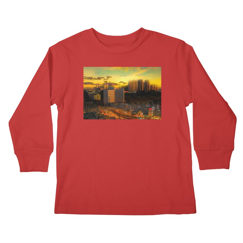 Golden Horizon Kids Longsleeve T-Shirt by Jasmina Seidl's Artist Shop