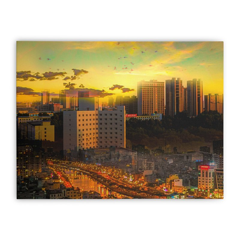 Golden Horizon Home Stretched Canvas by Jasmina Seidl's Artist Shop