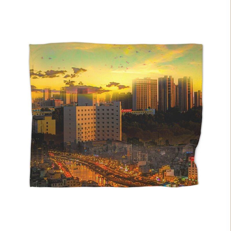 Golden Horizon Home Fleece Blanket Blanket by Jasmina Seidl's Artist Shop