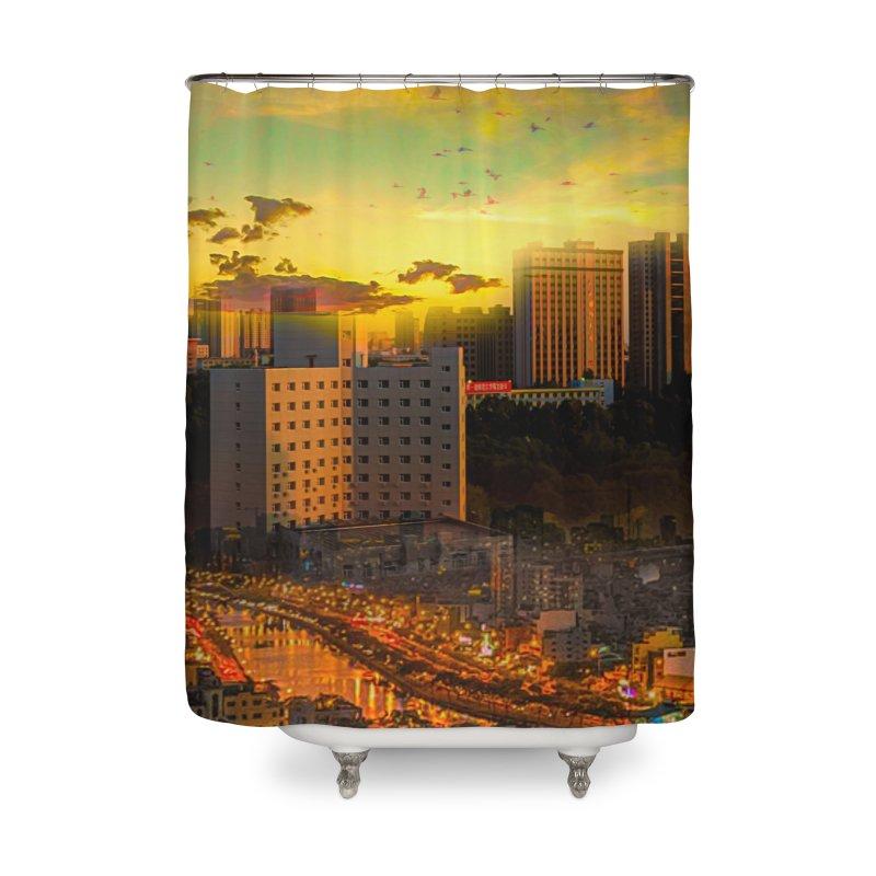 Golden Horizon Home Shower Curtain by Jasmina Seidl's Artist Shop