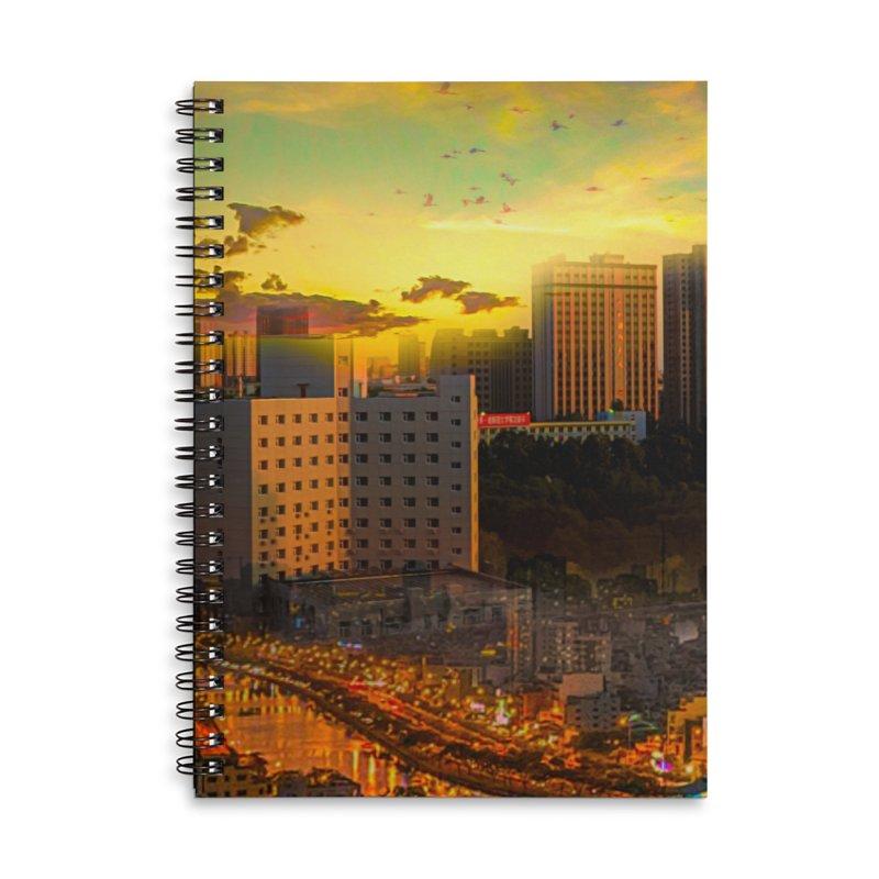 Golden Horizon Accessories Lined Spiral Notebook by Jasmina Seidl's Artist Shop