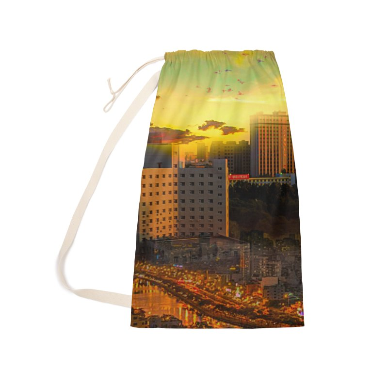 Golden Horizon Accessories Laundry Bag Bag by Jasmina Seidl's Artist Shop