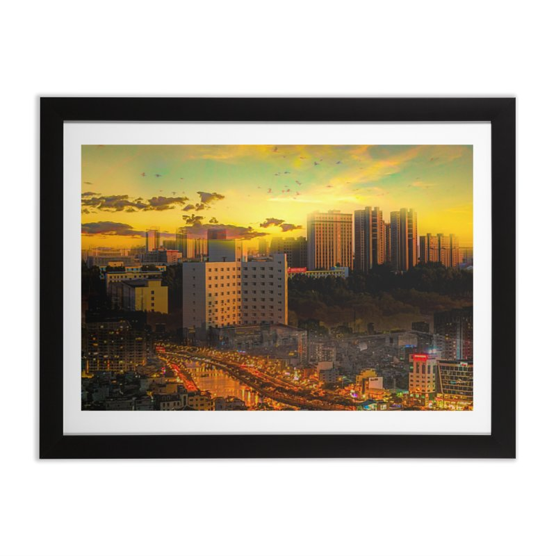 Golden Horizon Home Framed Fine Art Print by Jasmina Seidl's Artist Shop