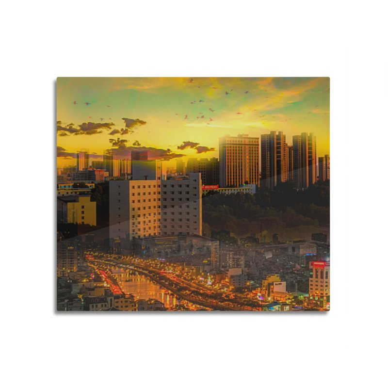 Golden Horizon Home Mounted Aluminum Print by Jasmina Seidl's Artist Shop