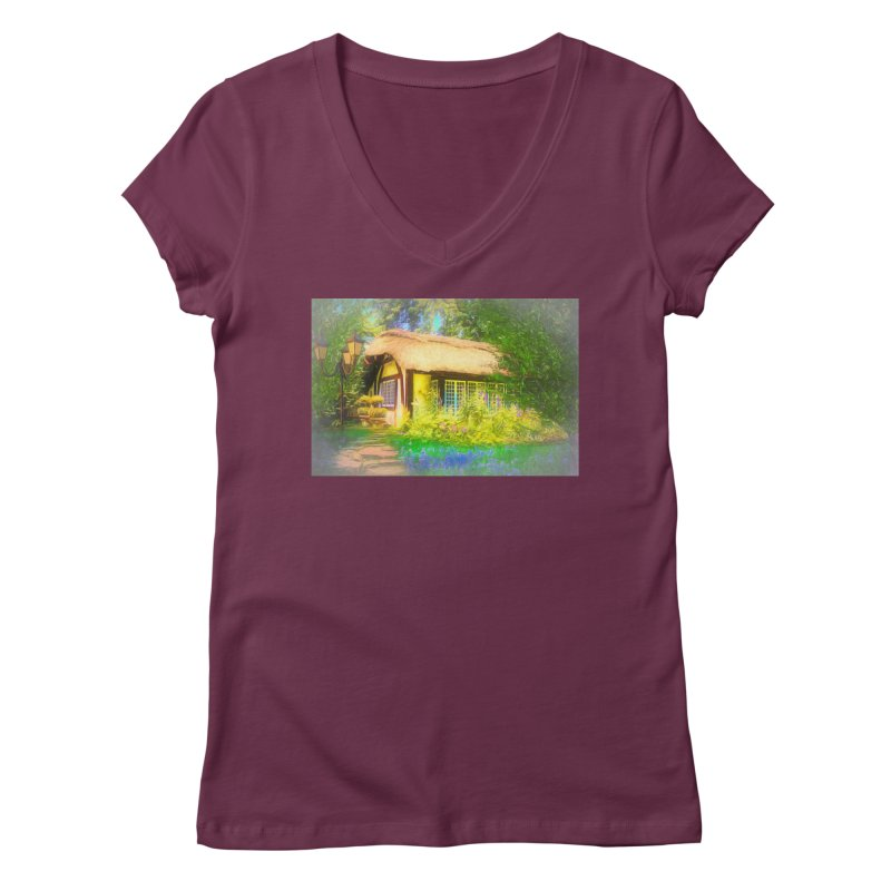 The Cottage Women's Regular V-Neck by Jasmina Seidl's Artist Shop