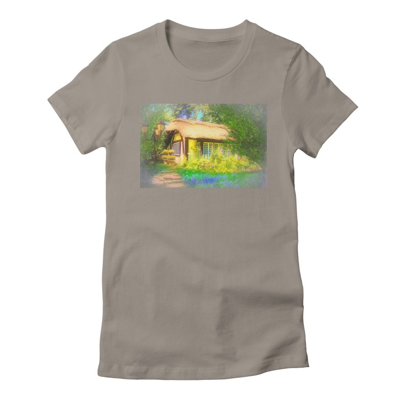 The Cottage Women's Fitted T-Shirt by Jasmina Seidl's Artist Shop