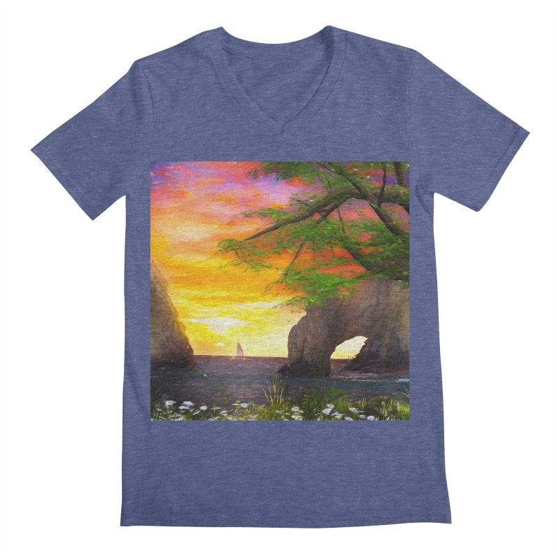 Sunset Dream Men's Regular V-Neck by Jasmina Seidl's Artist Shop