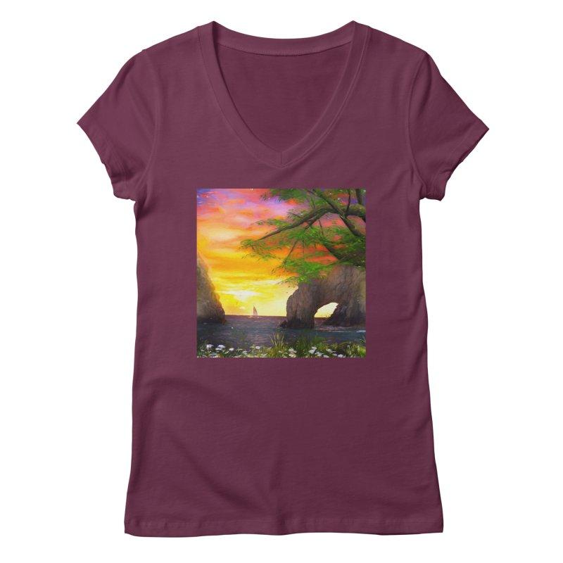 Sunset Dream Women's Regular V-Neck by Jasmina Seidl's Artist Shop