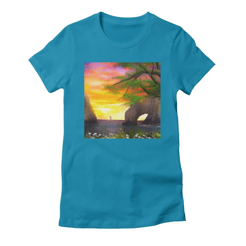 Sunset Dream Women's Fitted T-Shirt by Jasmina Seidl's Artist Shop