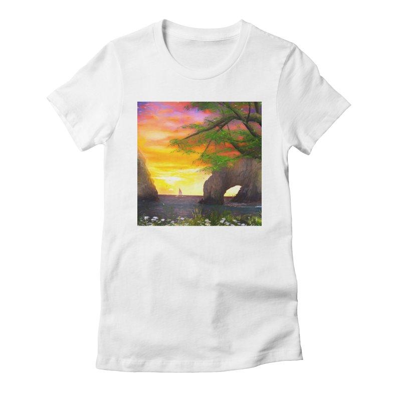 Sunset Dream Women's Fitted T-Shirt by Jasmina Seidl's Artist Shop