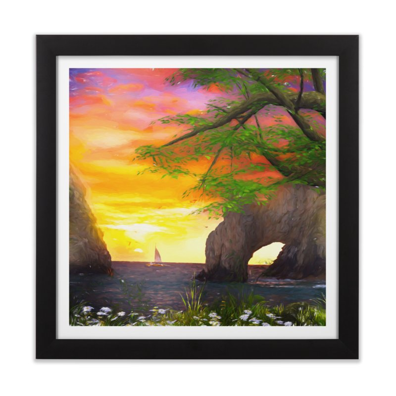 Sunset Dream Home Framed Fine Art Print by Jasmina Seidl's Artist Shop