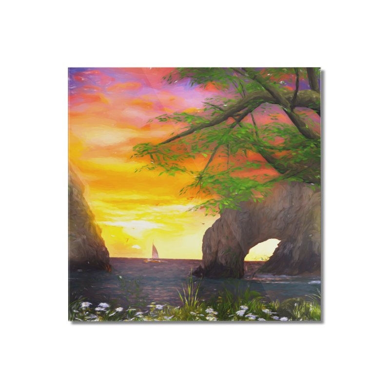 Sunset Dream Home Mounted Acrylic Print by Jasmina Seidl's Artist Shop