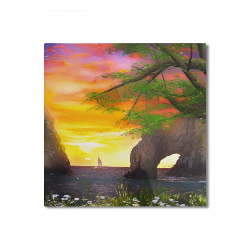 Sunset Dream Home Mounted Aluminum Print by Jasmina Seidl's Artist Shop