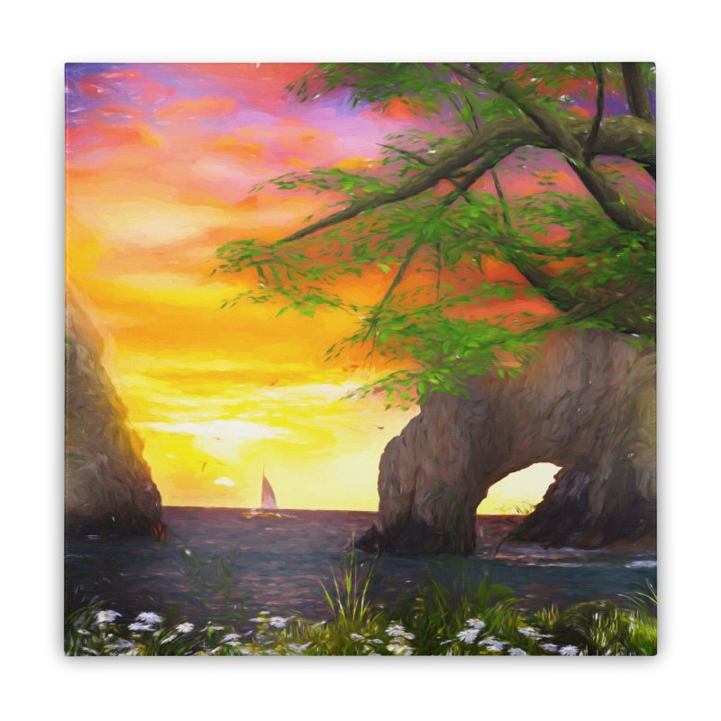Sunset Dream Home Stretched Canvas by Jasmina Seidl's Artist Shop