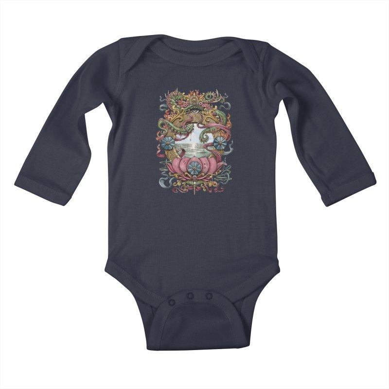 Writhing Waters XVII (Lotus Pearl) Kids Baby Longsleeve Bodysuit by Jason Brammer's Shop