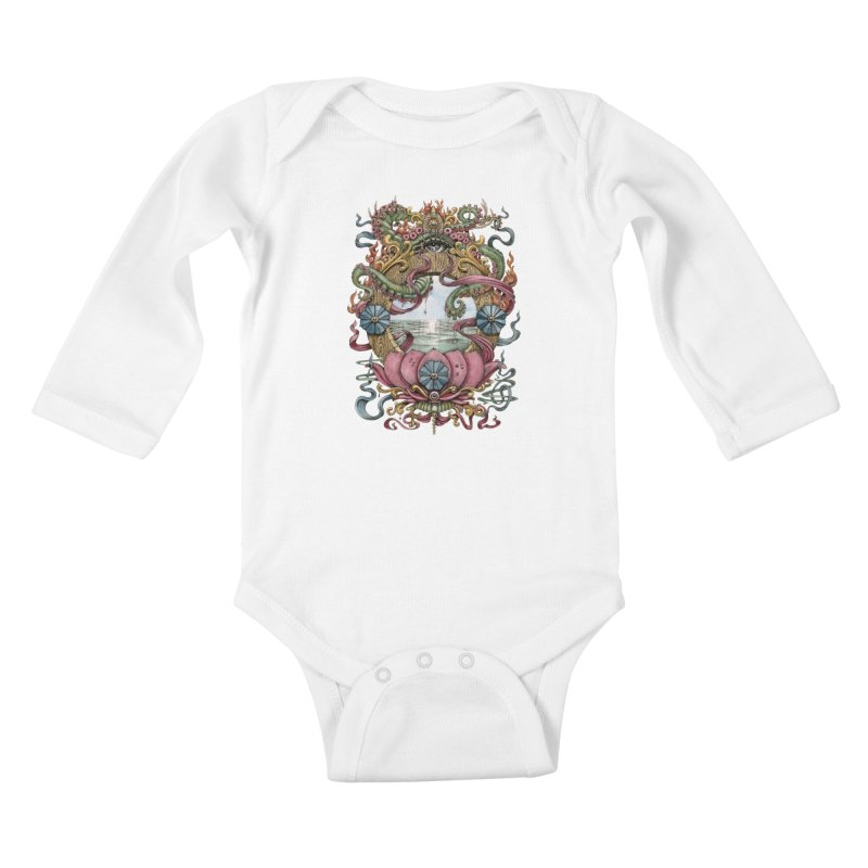 Writhing Waters XVII (Lotus Pearl) Kids Baby Longsleeve Bodysuit by Jason Brammer's Shop