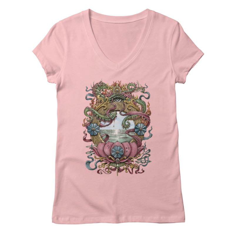 Writhing Waters XVII (Lotus Pearl) Women's Regular V-Neck by Jason Brammer's Shop