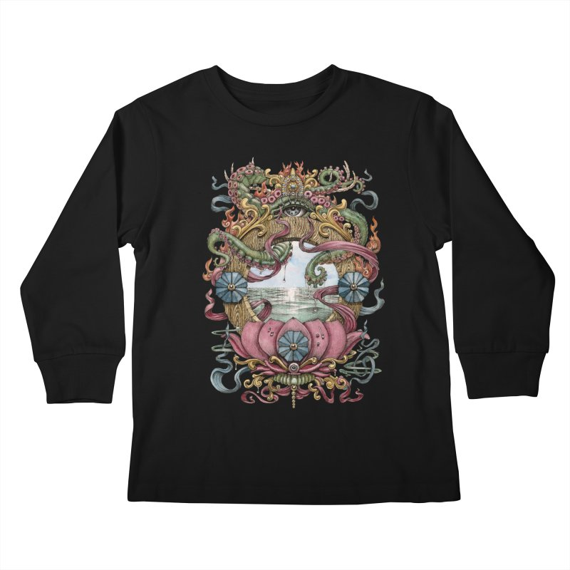 Writhing Waters XVII (Lotus Pearl) Kids Longsleeve T-Shirt by Jason Brammer's Shop