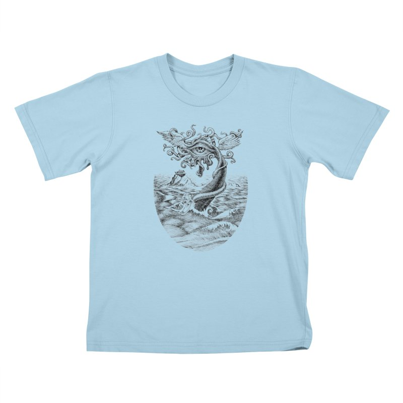 Birth of the Sonic Swan Deity Kids T-Shirt by Jason Brammer's Shop