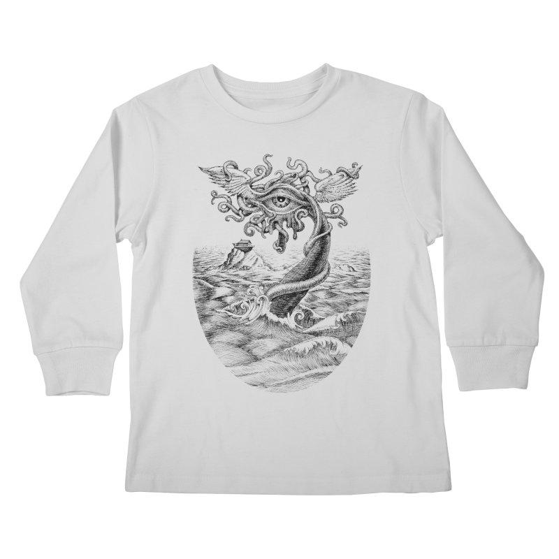 Birth of the Sonic Swan Deity Kids Longsleeve T-Shirt by Jason Brammer's Shop